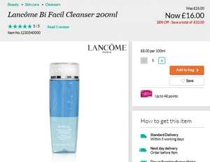 Lancome bi facil cleanser 200ml 10£ off £16 @ Debenhams