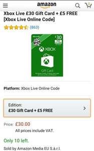 Xbox One & 360 £35 credit for £30 @ Amazon