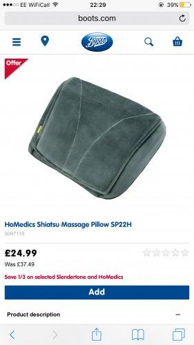 Homedics shiatsu massage pillow £24.99 @ Boots