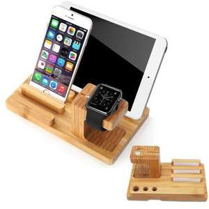 apple watch stand,ipad&iPhone holder bamboo wood - £9.96 (Prime) £13.95 (Non Prime) @  EasyPlug and Fulfilled by Amazon