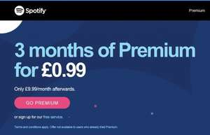 3 Months of Spotify Premium (New Accounts) for 99p