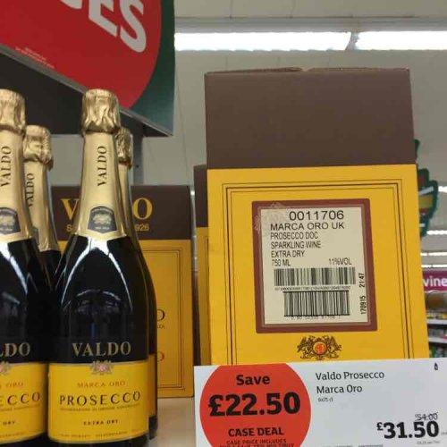Valdo Prosecco Marca Oro 6x75cl bottles £22.50 @ Sainsburys