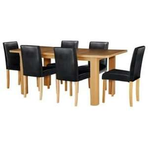 Shenley Wood Effect Extendable Table and 6 Black Chairs £158.94 inc. delivery @ Argos