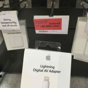 Apple lightning to HDMI adapter £18.49 @ sainsburys