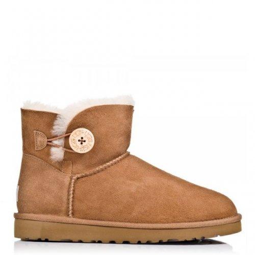 UGG Boots MINI BAILEY BUTTON Tan Suede £74.25 @ Daniel Footwear