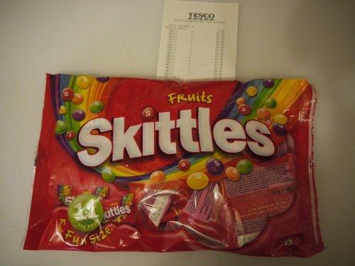 Skittles Funsize 198g 25p instore Tesco Harlow.
