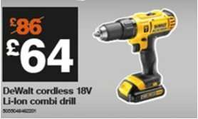 DEWALT 18V Li- Ion CORDLESS COMBI DRILL £64 5035048462201 BLACK FRIDAY ONLY @ B&Q