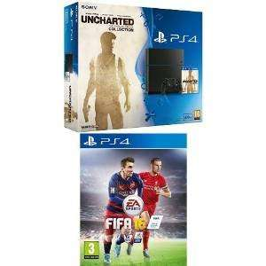 Sony PlayStation 4 500GB Console with Uncharted: The Nathan Drake Collection and FIFA 16 (PS4) £249.99 @ Amazon
