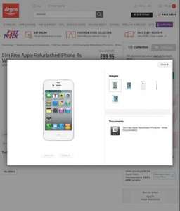 Sim free Apple Refurbished iPhone 4s £99.95 @ Argos