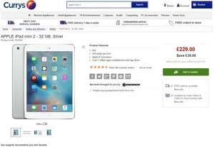 Apple iPad Mini 2 32GB £229 / 16GB £189 Currys/PC World - possible 10% Quidco on top makes them £206 / £170