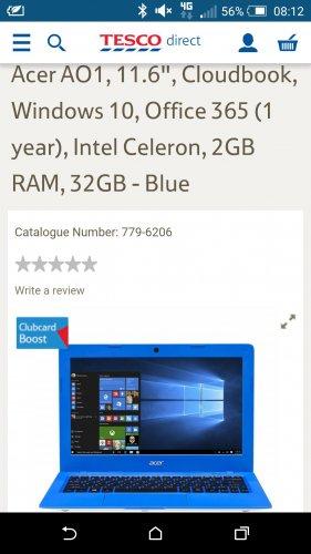 Acer Aspire One Cloudbook Laptop. Celeron N3050. Win 10. 1 Year Office 360 Petsonal. 2GB Ram. 32GB eMMC HD £99 @ Tesco Instore.