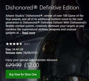 Dishonored® Definitive Edition £12 @Xbox Store (Black Friday)