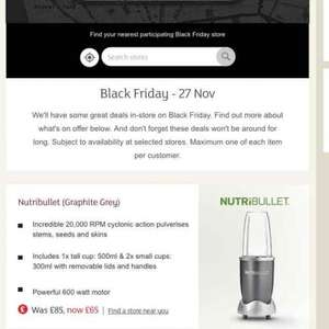 Sainsbury's Black Friday INSTORE Graphite Nutribullet £65