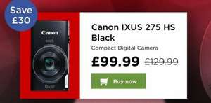 £30 off + cashback on Canon IXUS 275 HS Black Compact Digital Camera