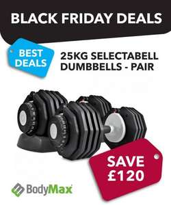 Bodymax 25kg Selectabell Dumbbells - Pair. Save £120 for Black Friday