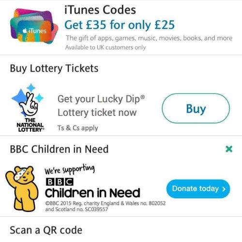 Get £35 iTunes code for £25 via Barclays PingIT