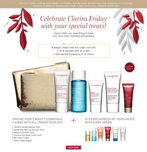 Spend £60 and get 6 free gifts worth £27 + FREE delivery @ Clarins ENDS 29th