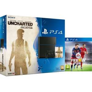 PS4 Sony PlayStation 4 500GB Console - Includes Uncharted: The Nathan Drake Collection & FIFA 16 + FREE DELIVERY @ Zavvi