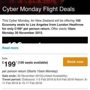 Air Newzeland London-Los Angeles cyber Monday deal (100 seat deal)
