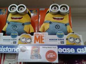 "£14.99 Despicable Me Talking 10"" Minion Dave Soft Plush B&M Black Friday Weekend Offer"
