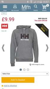 Helly Hansen mens Hoody Dark Grey £9.99 + £4.49p&p @ M and m direct