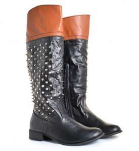 Nicole Black & Tan Knee High Stud & Spike Boots down from £52 to £15 + £2.95 delivery @She Likes