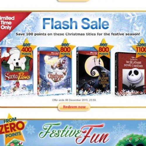 Disney movie rewards Xmas movies flash sale 400 points