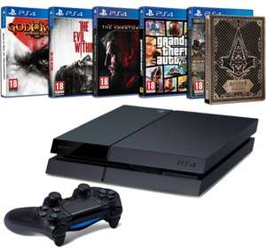 PlayStation 4 500GB + God of War + Assassin's Creed Syndicate + Steelbook + Metal Gear Solid V : The phantom Pain + GTA V + The Evil Within £273.23 @ Amazon Fr