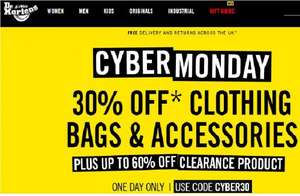 Dr Martens 30% off clothing, bags and accessories. Cyber Monday