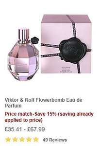 Viktor & Rolf Flowerbomb Eau De Parfum - From £35.41 to £67.99 - John Lewis Price Match Today - Includes 15% off the ALREADY BLACK FRIDAY PRICE MATCHED AMOUNT (possible GLITCH) on ALL the Flowerbomb range and all brands of fragrances