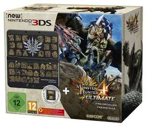 New Nintendo 3DS black incl. Monster Hunter 4 Ultimate + cover plate £120 @ Amazon.DE