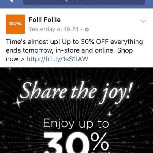 30% off bags at folli follie