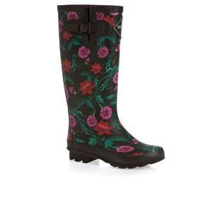 Wolf & York Splishsplash Wellington Boots in Black Floral down from £24 to £13.99 delivered @ Amazon/Surfdome