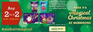 Any 2 for £2 - Cadbury Medium Selection Box 180g - Freddo Selection box 154g - Heroes Carton 185g - Roses Carton 187g @ Morrisons