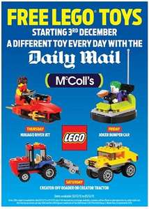 Free lego with Daily mail only at McColls from tomorrow 60p