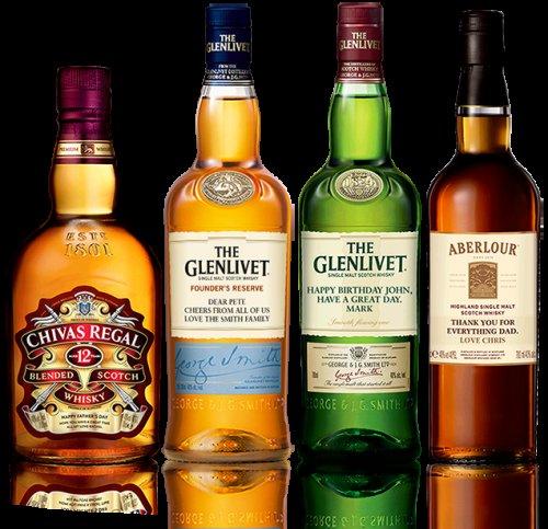 Free Personalised Whisky Bottle Label Choices are Aberlour - Glenlivet 12 year old - Glenlivet Founder's Reserve - Chivas Regal 12 year old.
