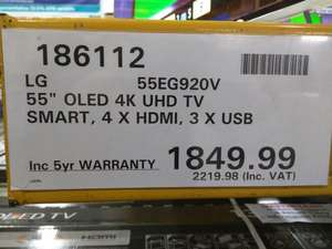 "LG 55EG920V Smart 3D Ultra HD 4k 55"" OLED TV £2219.98 at Costco Including 5 Year Warranty"