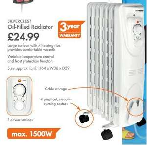 SilverCrest oil-filled radiator with 3 year warranty @ LIDL for £24.99  (2 for £40 with £10 off vouchers)