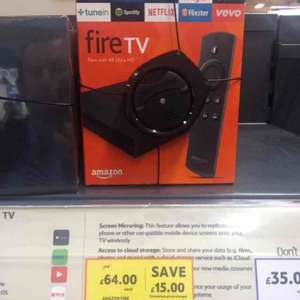 Amazon Fire TV with 4K ultra HD £64 @ Tesco plus 250 clubcard points