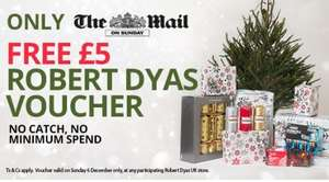 £5 Voucher to spend in Robert Dyas - No minimum spend - Mail on Sunday (£1.60) 6th December - Valid for today only - Plus FREE LED Bike Light Set voucher - expires Dec 12th - (worth £12.49) from Halfords