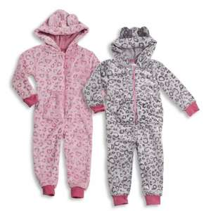 Kids Leopard Snuggle Fleece Onesie Pink Or Grey (Unpatterned Version & Others Available), £2.99 + £1.95 P&P @metzuyan.ltd ebay