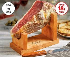 Boneless Mini Jamón Serrano (cured ham joint) £12.99 @ Aldi includes wooden stand and knife