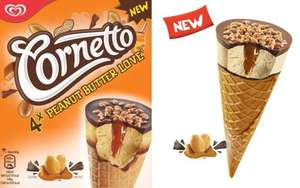 6pk Cornetto Caramel / 4pk Cornetto (New Flavours: Peanut Butter Love, Cookies N Dream) each for 1.00 @ Farmfoods
