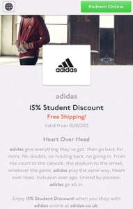 Adidas 15% Student discount with unidays