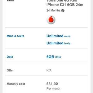 iPhone 6s on Vodafone. unlimited texts and calls 6gb internet £150 upfront and £31 per month for 2 years @ mobiles.co.uk
