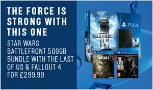 PS4  500GB (C-Chassiss) Star Wars Battlefront Bundle, Fallout 4 and the Last of us remastered £299.99 @ Argos.