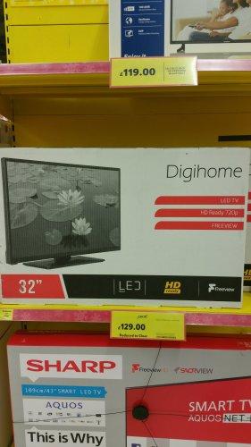 """Digihome 32"""" LED TV £129 @ Tesco Skegness and online"""