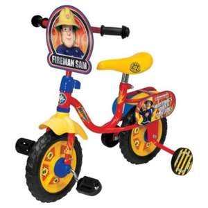 "Fireman Sam 10"" Bike With Stabilisers £15 down from £50 @ Tesco Direct"