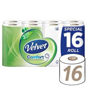 Velvet Comfort 16 Rolls £5.00 at Tesco