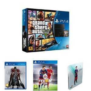Sony PlayStation 4 500GB with GTA V, Bloodborne, FIFA 16 and Steelbook (PS4) £299.99 delivered at Amazon